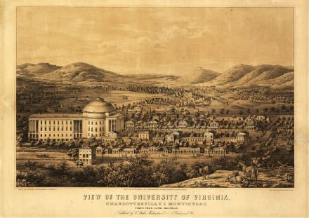 Birdseye View Map of the University of Virginia, Charlottesville & Monticello. Print/Poster (5224)